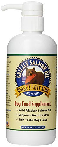 Salmon Oil Omega-3 Fatty Acids All-Natural Dog Food Supplement by Grizzly Pet Products