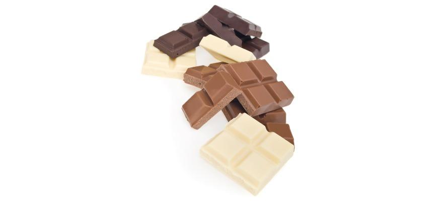 milk, dark, and white chocolates