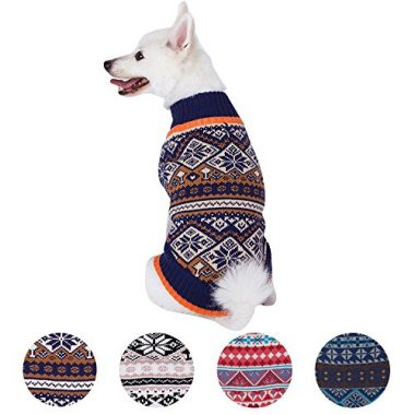 4 Patterns Holiday Season Nordic Fair Isle Snowflake Dog Sweater by Blueberry Pet