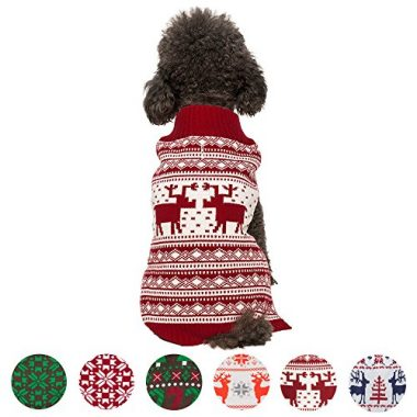6 Patterns Vintage Holiday Festive Christmas Themed Dog Sweater by Blueberry Pet