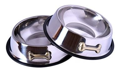 Stainless Steel Dog Bowl with Rubber Base by GPET