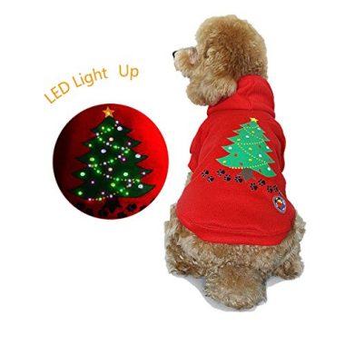 Light Up Dog Shirt Costume Xmas Tree LED Hoodie Holiday Pet Sweater by RoyalWise