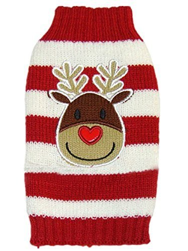 Pet Dog Cartoon Reindeer Knitted Sweater for Christmas by Moolecole