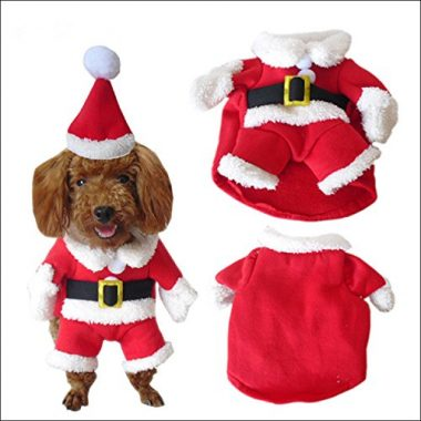 Dog Santa Claus Suit with Cap Pet Christmas Costume by NACOCO