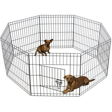 Pet Exercise Pen Tube Gate Metal Wire Playpen  with Door by OxGord