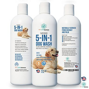 Professional Grade Sensitive Dog & Puppy Shampoo with Coconut Oil and Palm Oil by PET CARE Sciences