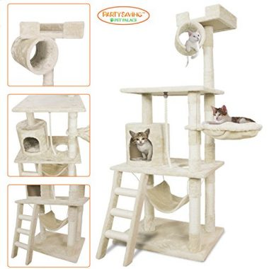 Pet Palace 62″ Cat Tree Kitten Activity Tower Condo