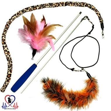 Pet Fit for Life Multi Feather Teaser and Exerciser for Cat and Kitten
