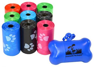 Dog Pet Waste Poop Bags with Free Bone Dispenser by Downtown Pet Supply