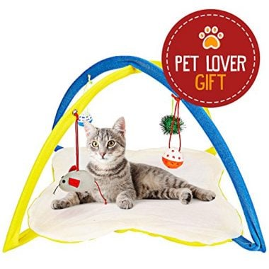 Cat Play Mat Cat Tent Activity Center with Hanging Toys