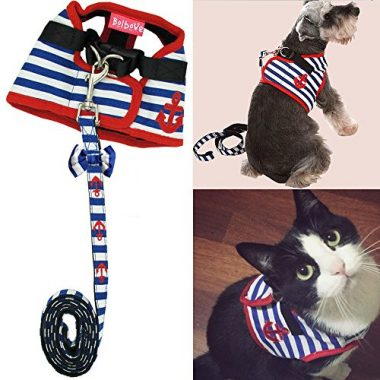 Bro'Bear Adorable Soft Velcro Cat/Dog Safety Walking Mesh Sailor Vest Harness + Matching Leash