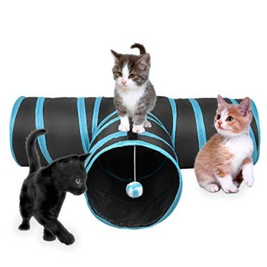 3 Way Cat Tunnel Collapsible Pet Toy Tunnel with Ball for Cat