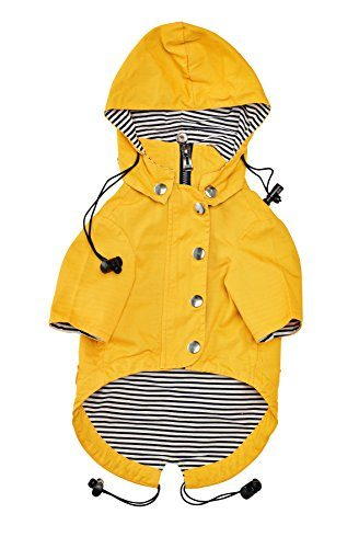 Yellow Zip Up Dog Raincoat with Reflective Buttons and Pockets by Ellie Dog Wear