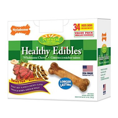 Healthy Edibles Dog Chew Treat Bones for Petite Dogs up to 15 Pounds by Nylabone