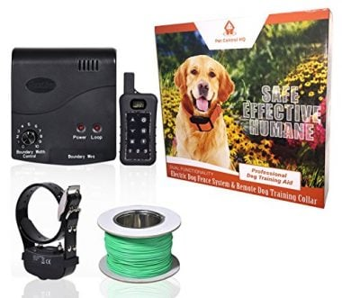 Wireless Combo Electric Dog Fence System with Remote Dog Training Collar by PetControlHQ