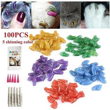 Ninery Ave 100pc Cat Nail Caps and Applicator