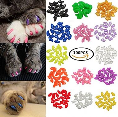 Johomoon 100Pcs Colorful Cats Paws Grooming Nail Claw Cap