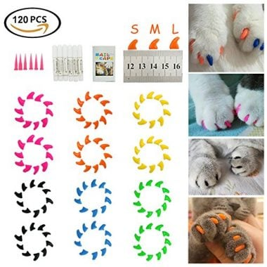 Dadiii 120pc Soft Claws Paws Nail Covers for Pet Cat and Dog
