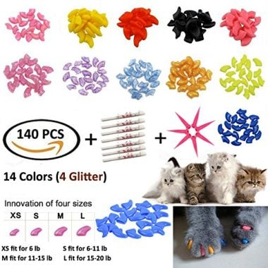 JOYJULY 140pc Pet Cat Kitty Soft Claws Caps