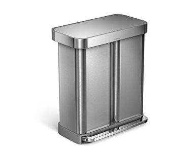 simplehuman Stainless Steel Dual Compartment Rectangular Trash Can