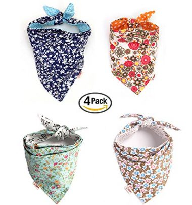 Combofix 4 Pack Cute Dog Bandana Multi Coloured Scarves Accessories