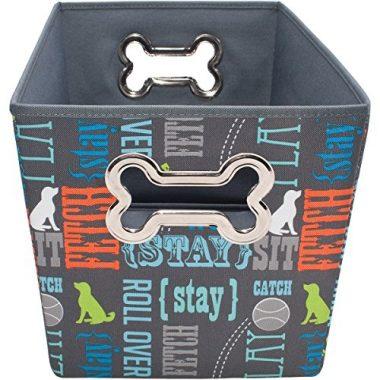 Paw Prints Fabric Pet Toy Bin