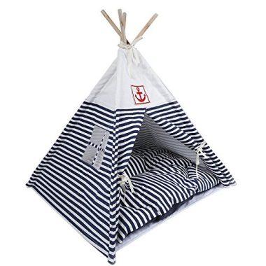 VIILER Pet Supplies Washable Durable Navy Stripe Style Pet House Tent