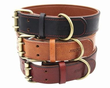 Moonpet Soft Padded Real Leather Dog Collar