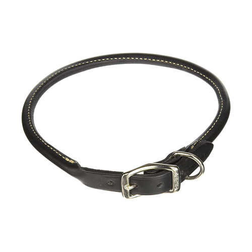 Coastal Pet Circle T Black Rolled Leather Dog Collar