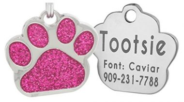 Io Laser Engraving Glitter Paw Pet ID Tags