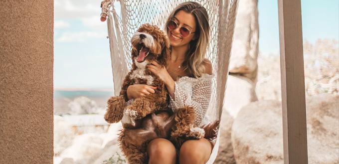 woman sitting on hammock with dog