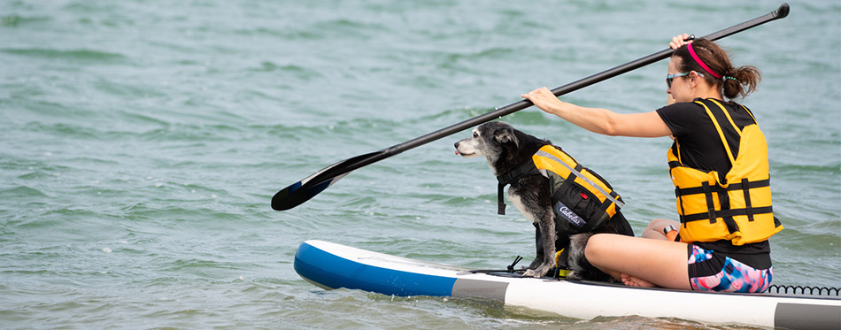 Woman and her dog with life jackets