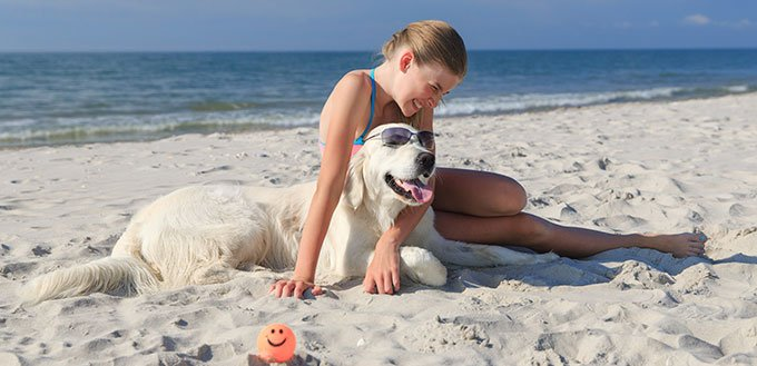 Woman and her dog on the beach
