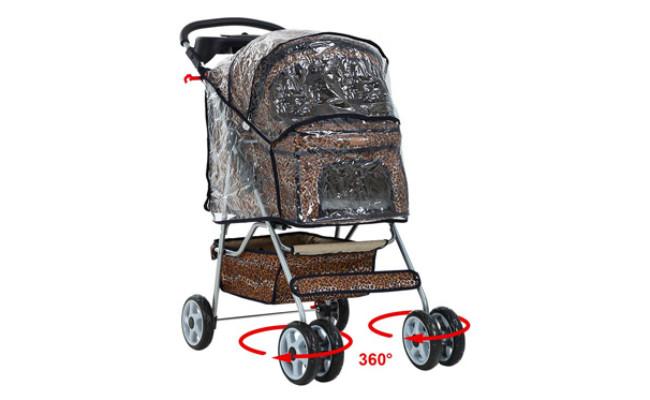BestPet Leopard Skin Dog Stroller