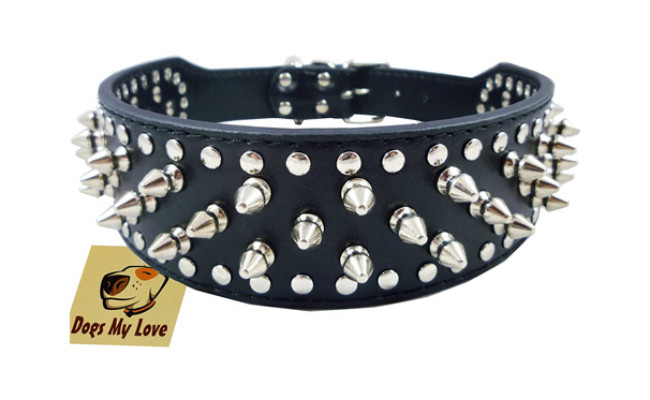 DML Black Faux Spiked Dog Collar