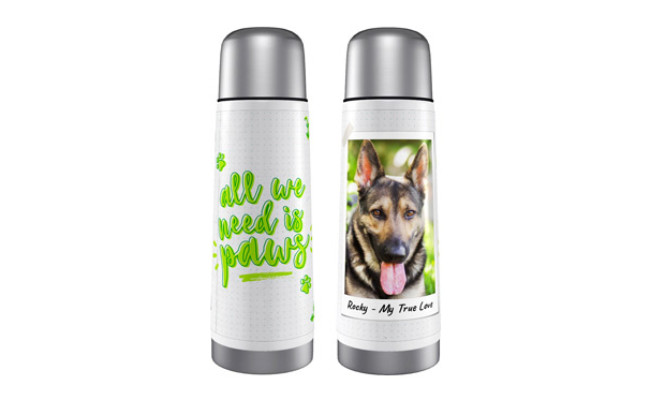 Frisco Personalized All We Need is Paws Thermos