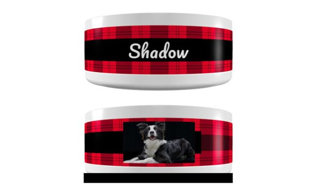 Frisco Personalized Plaid Ceramic Dog Bowl
