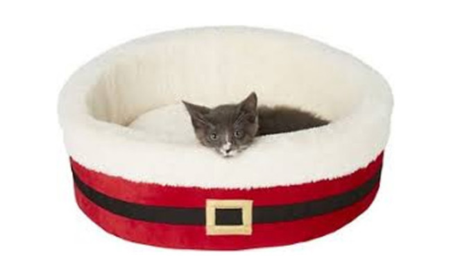 Frisco Santa Deep Dish Bolster Cat Bed