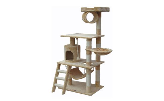 Go Pet Club 62-in Faux Fur Cat Tree & Condo Beige