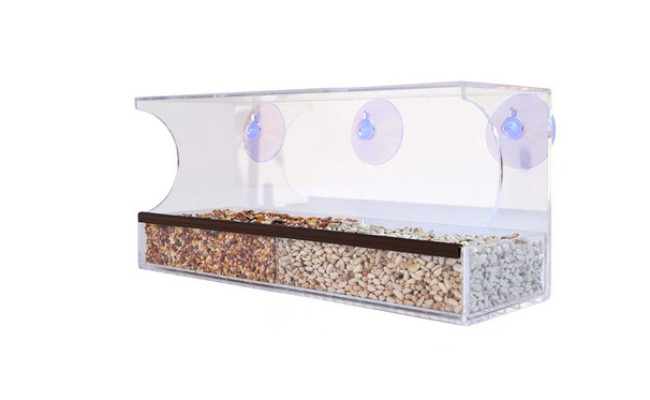 Gray Bunny Clear Window Bird Feeder