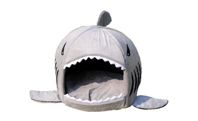 Grey Shark Bed for Small Dog Cave Bed