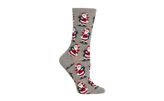 Hot Sox Womens Skating Santas Crew Socks