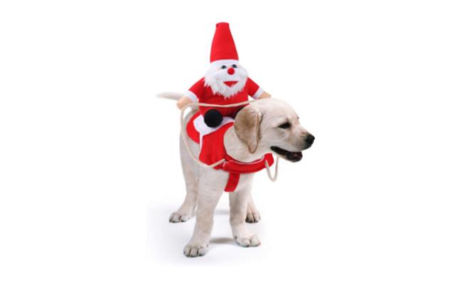 Idepet Dog Santer Claus Riding Christmas Costume