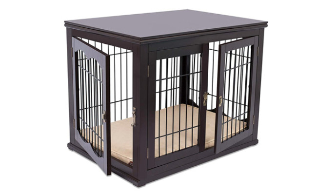 Internet's Best Wood & Wire Dog Crate with Cushion