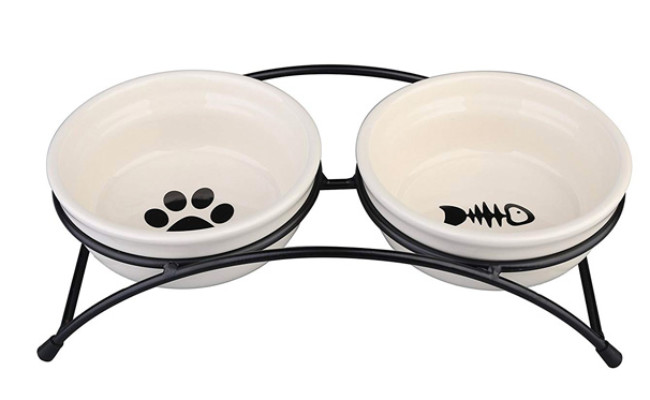 MushroomCat Pet Feeder Double Ceramic Bowl