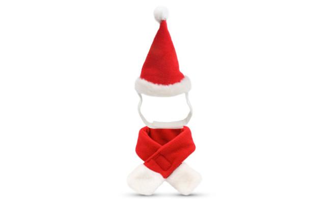 Pet Leso Cat Christmas Hat with Muffler Santa Hat
