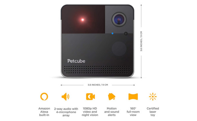 Petcube Play 2 Play Wi-Fi Pet Camera Features and Dimensions