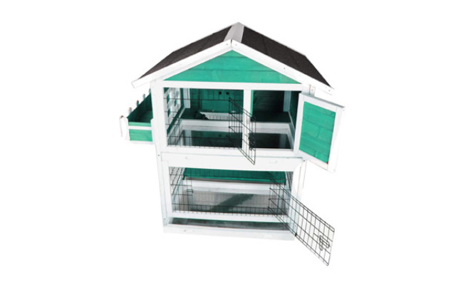 Petsfit Rabbit Hutch, Two-Story Wood Bunny Cage