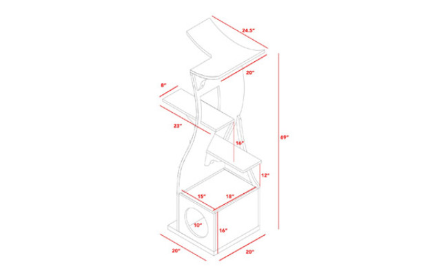 The Refined Feline Lotus Cat Tower Furniture Dimensions