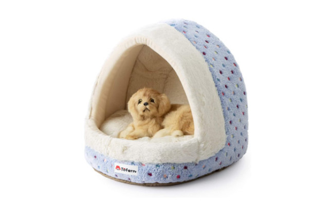 Tofern Colorful Dots Patterns Dog Sleeping Igloo House